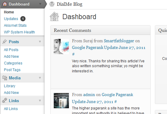 Wordpress 3.2 Dashboard