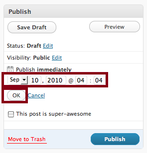 Wordpress Set Date Time Publish