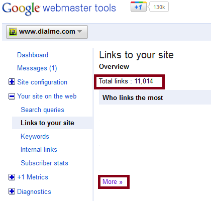 Webmaster Tools Total Links