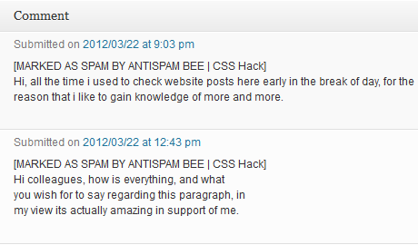 Wordpress Spam Marked by Antispam Bee