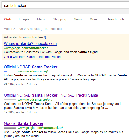 Google Results Santa Tracker
