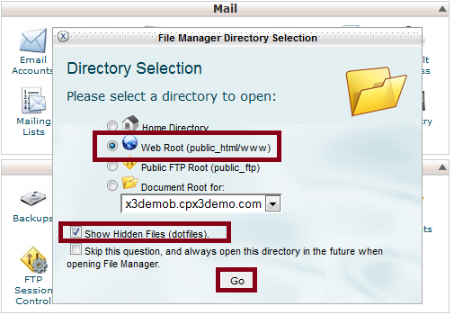 cPanel File Manager Choose