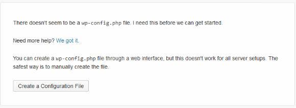 WordPress Installer Step 1