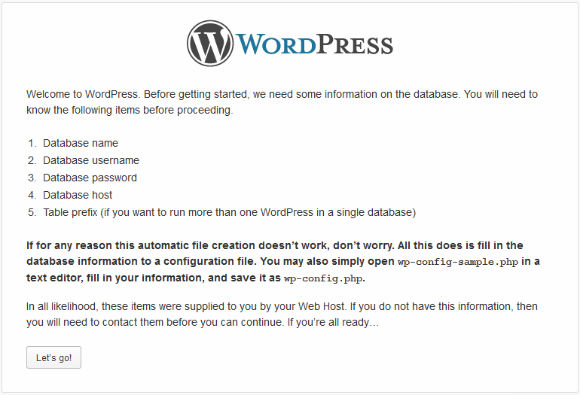 WordPress Installer Step 2