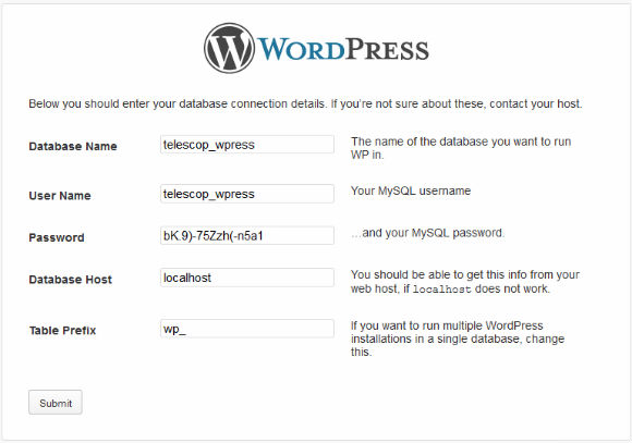 WordPress Installer Step 3