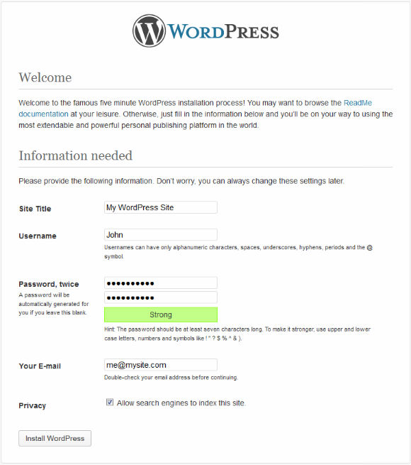 WordPress Installer Step 5