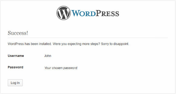 Step11 WordPress Installer Success
