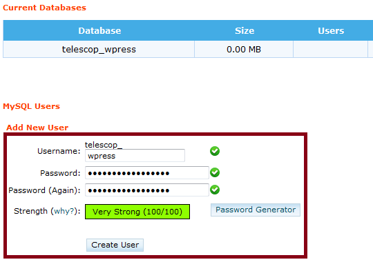Add New Database User
