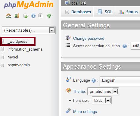 Step2 phpMyAdmin select database