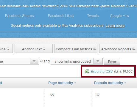 Export CSV Open Site Explorer