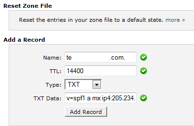 Add TXT Record