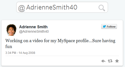 Adrienne Smith First Tweet