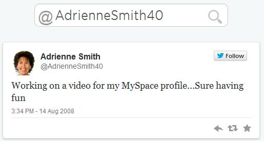 Adrienne Smith First Tweet