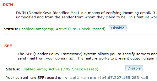 cPanel DKIM SPF Enabled