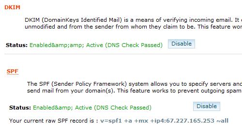 cPanel DKIM SPF Enabled