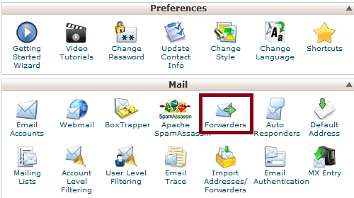 cPanel Forwarders