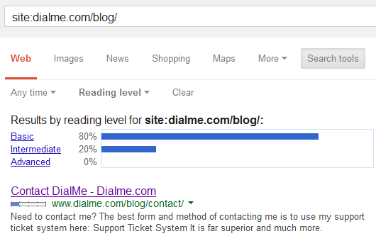 Dialme Blog Reading Level