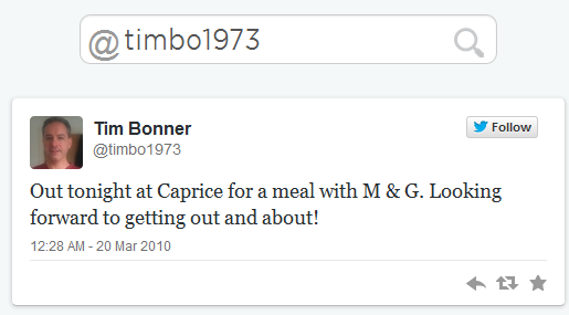 Tim Bonner First Tweet