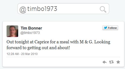 Tim Bonner First Tweet