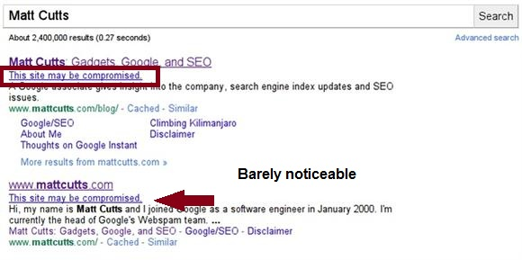 New hacked site notifications in search results