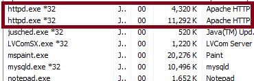 Apache Memory Use Windows