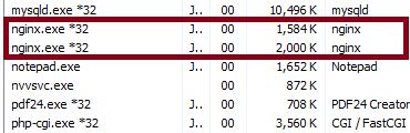 NginX Memory Use Windows