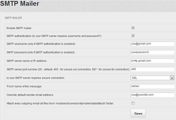 gMail SMTP Settings