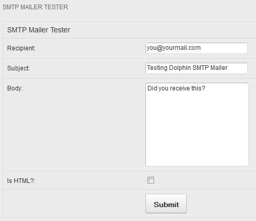 Dolphin 7.1 SMTP Mailer Test