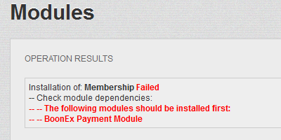 Membership Module Failed