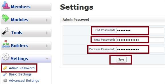 Admin Panel New Password