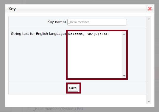 Language Key Edit Welcome