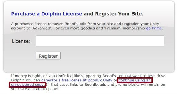 Dolphin 7 Enter License or Continue