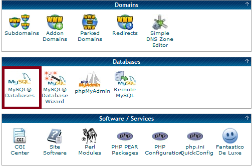 Cpanel - Select MySQL Databases