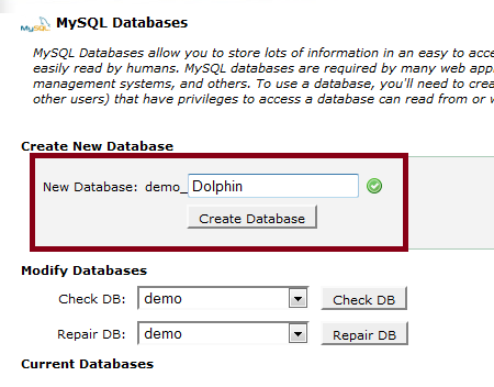 Dolphin 7 Create New Database