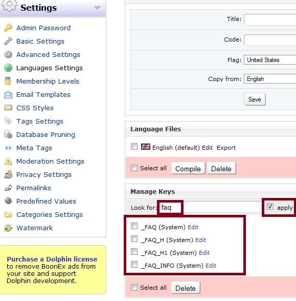 FAQ Lanugage Key Search
