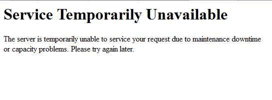 Plain default 503 error message