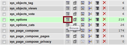 Browse sys_options Table