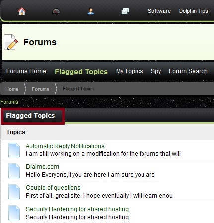 Flagged Topics Heading