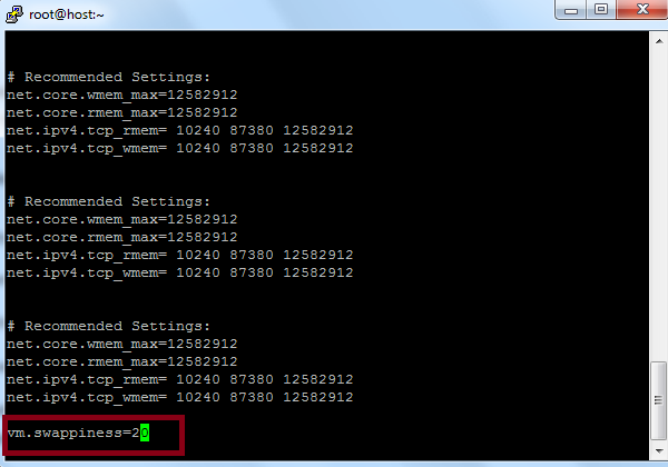 Add Swappiness to sysctl